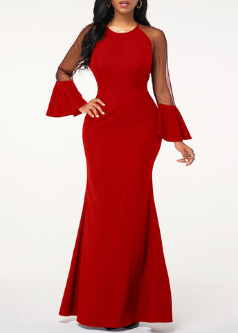 Flare Cuff Mesh Panel Red Maxi Dress - Arista Gems