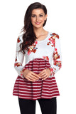 Wine Floral Striped Babydoll Tunic - Arista Gems