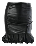 Black Faux Leather Ruffle Hem Mini Skirt - Arista Gems
