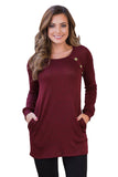Red Button and Suede Accent Tunic Top - Arista Gems