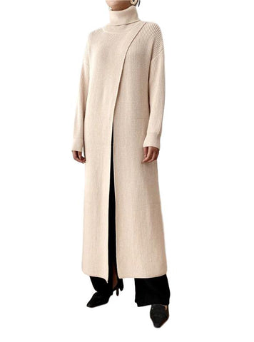 Loose Turtleneck Long Cardigan