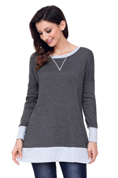 Charcoal Side Pocket Elbow Patch Colorblock Tunic - Arista Gems
