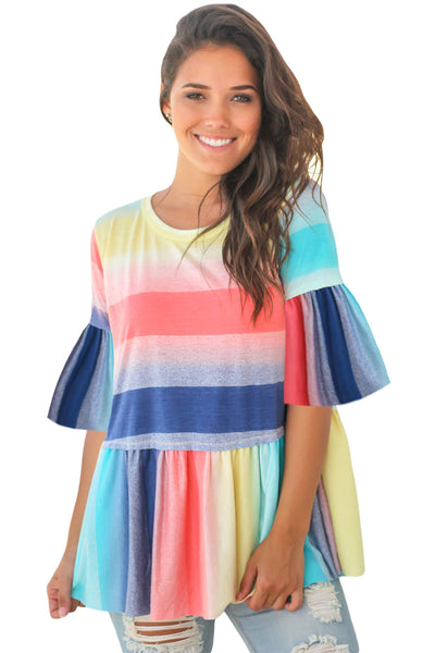Bright Multicolor Striped Flared Tunic Top