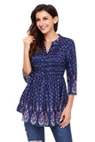 Peacock Floral Navy Chiffon Button-Down Pin Tuck Tunic - Arista Gems