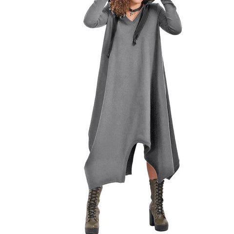 Hooded Asymmetrical Fleece Long Dress