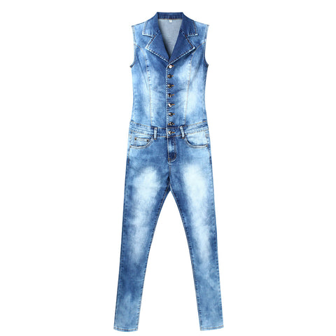 Blue Stretch Denim Skinny Slim Fit Jumpsuit - Arista Gems