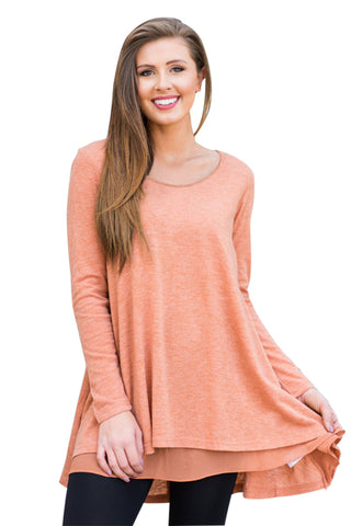 Orange Swingy Layered Long Sleeve Tunic - Arista Gems