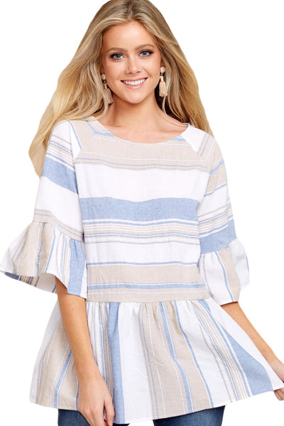 Light Multicolor Striped Flared Tunic Top - Arista Gems