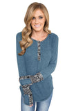 Blue Women's Floral Printed Casual Flare Tunic Tops