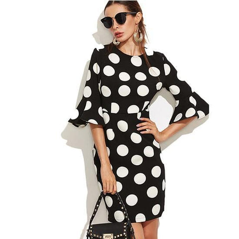 Women's Half Flare Sleeve Polka Dot Dress - Arista Gems
