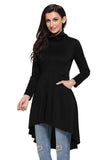 Black Long Sleeve Pocket High Low Tunic - Arista Gems