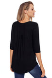 Black 3/4 Sleeve Button Detail Pleated Tunic - Arista Gems