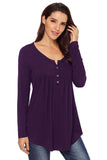 Purple Long Sleeve Button up Pleated Tunic - Arista Gems