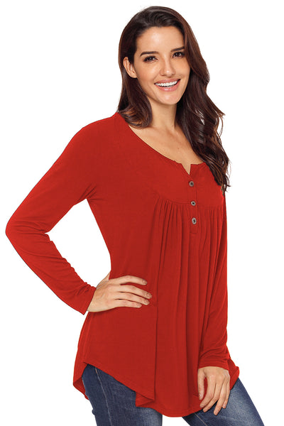 Red Long Sleeve Button up Pleated Tunic