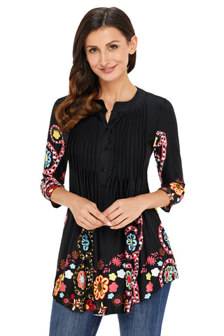 Black Floral Notch Neck Pin-tuck Tunic - Arista Gems