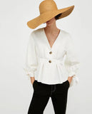 White Knot Cuff Button Up Blouse - Arista Gems