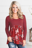 Floral Striped Babydoll Tunic