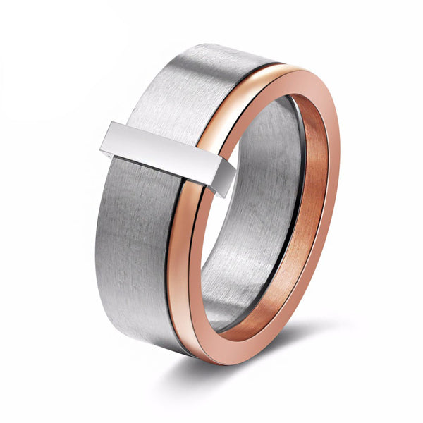 Women's 316L Stainless Steel And Rose Gold Ring - Arista Gems