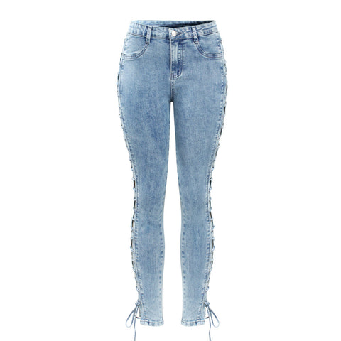Light Washed Lace Up Stretchy Denim Skinny Jeans - Arista Gems