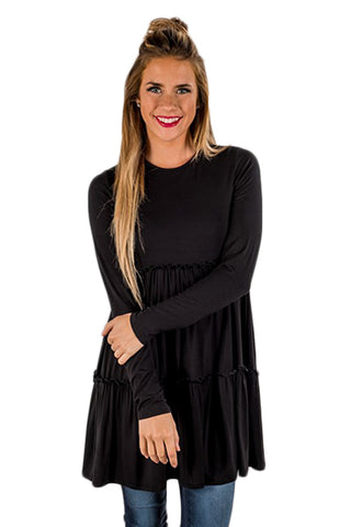 Black Long Sleeve Layered Babydoll Tunic - Arista Gems