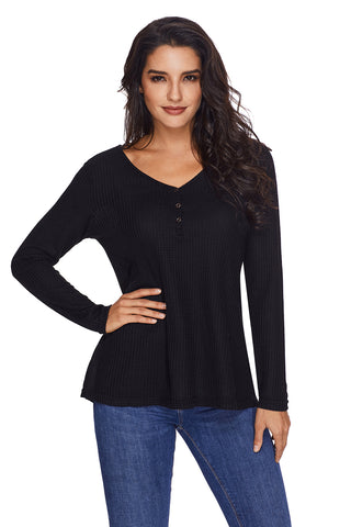Women's V Neck Buttoned Black Tunic - Arista Gems