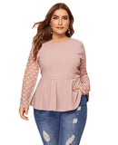 Elegant Polka Dot Mesh Sleeve Blouse - Arista Gems