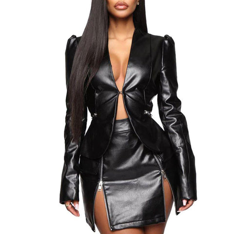 The Boss Faux Leather Ruffle Back Jacket and Skirt Set - seraie