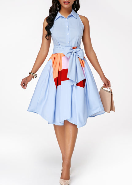 Asymmetric Hem Button Front Belted Dress - Arista Gems