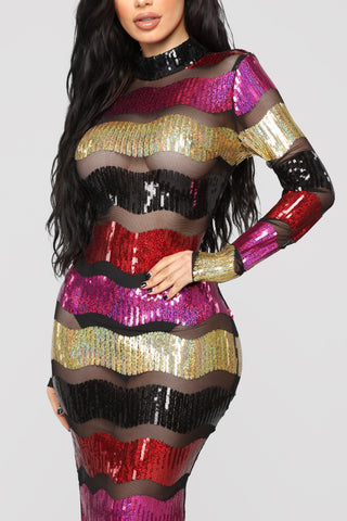 My Party Stripe Sequins Dress