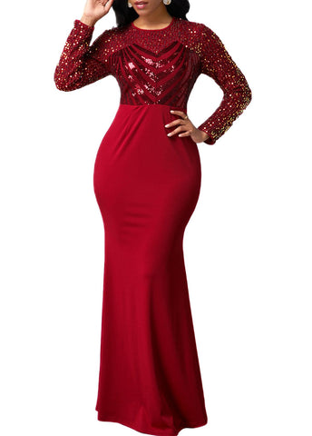 Sequin Detail Long Sleeve Red Mermaid Dress - Arista Gems