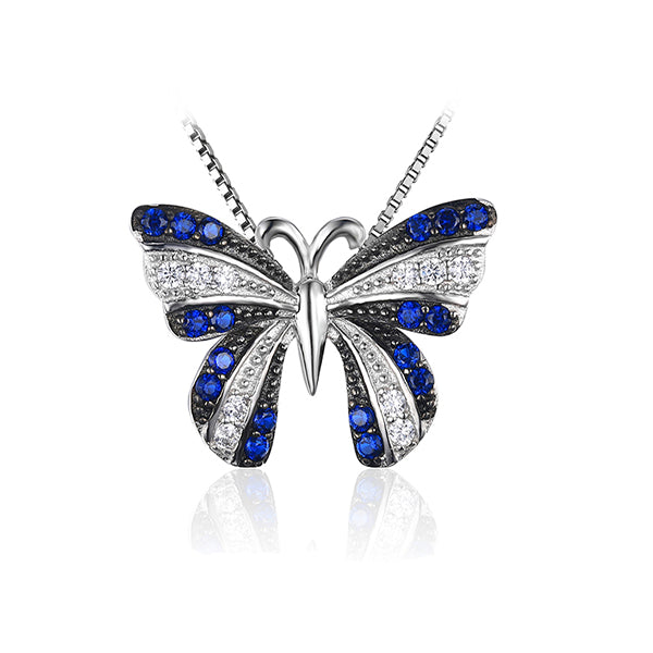 Butterfly 0.4ct Created Blue Spinel Silver Pendant - Arista Gems