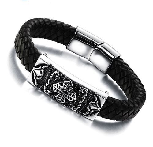 Stainless Steel Genuine Leather Bracelet - Arista Gems