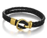 Leather Stainless Steel & Gold Men's Bracelet - Arista Gems