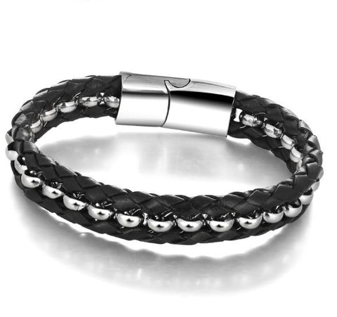 Leather Braided Rope Shape Stainless Steel Bracelet - Arista Gems