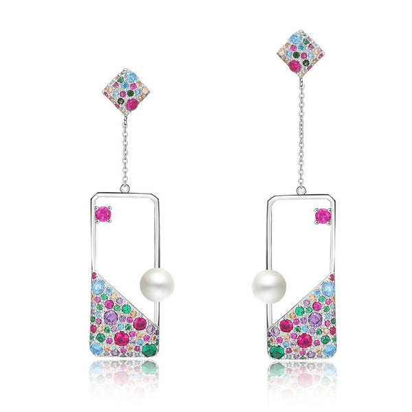 925 Sterling Silver Freshwater Pearl Square Dangle Earrings - Arista Gems