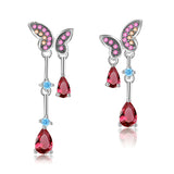 925 Sterling Silver CZ Butterfly Dangle Rose Crimson Earrings - Arista Gems