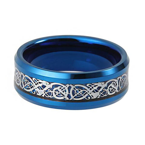 Arista Gems 8mm Blue Tungsten Carbide Ring