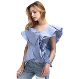 Blue Off Shoulder Striped Ruffle Blouse - Arista Gems