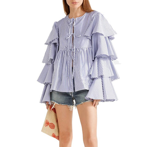 Ruffle Flare Long Sleeve Blouse - seraie