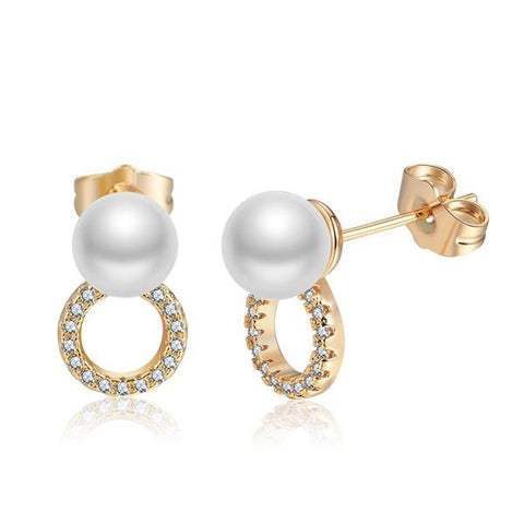 Gold Color Stud Pearl Earrings - seraie