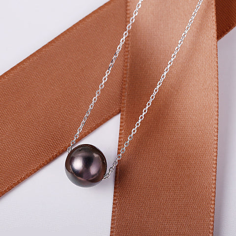 Black Tahitian Pearl Silver Pendant Necklace - Arista Gems