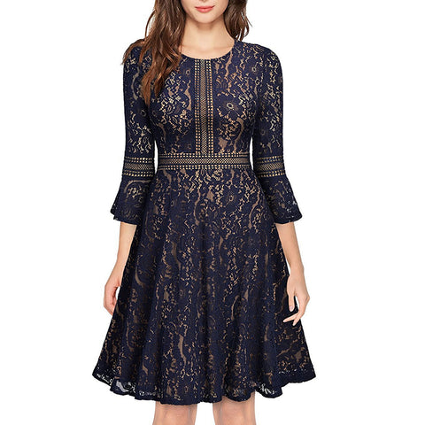 Women's Floral Lace Empire Waist Dress - seraie