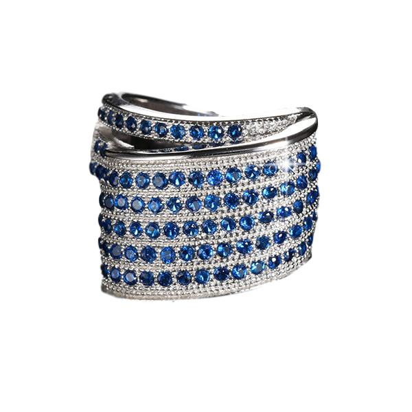 Unique Design Blue Cubic Zircon Pave Ring - Arista Gems