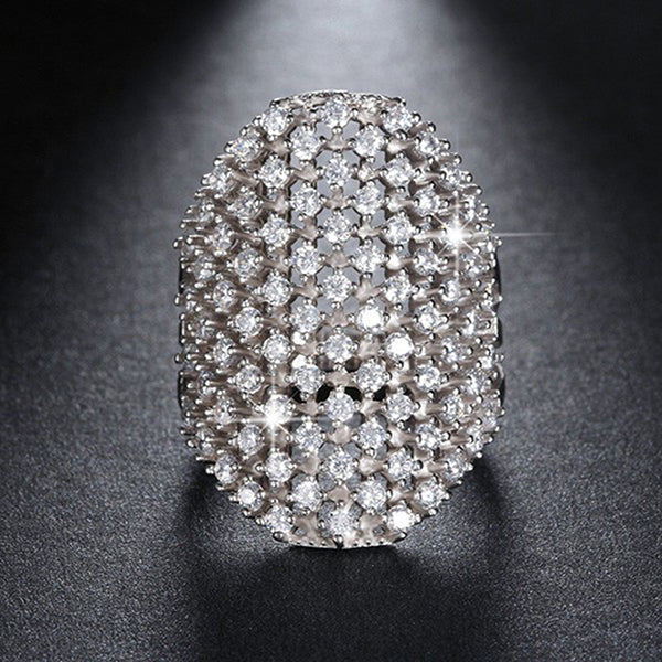 Big Novel Cubic Zirconia Paved Ring - Arista Gems