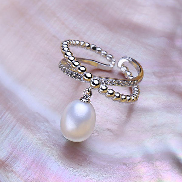 Bohemia Trendy Freshwater Pearl Adjustable Ring - Arista Gems