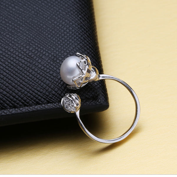 Adjustable Freshwater Pearl 925 Sterling Silver Ring - Arista Gems