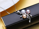 Natural Pearl Pendant Silver Necklace - Arista Gems
