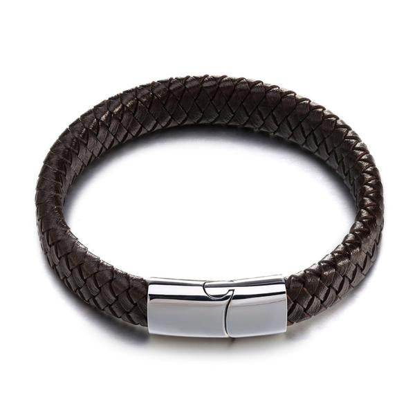 Handmade Wrap Genuine Leather & Steel Bracelet - Arista Gems