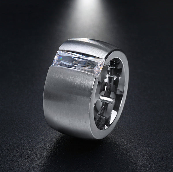 Men's 15 mm Stainless Steel Engagement Ring - Arista Gems