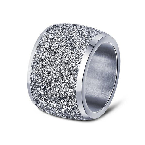 Stainless Steel 16mm Frosted Surface Ring - Arista Gems